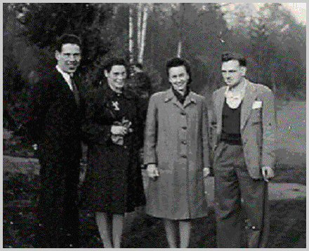 Chester Brown, Adrien Brown, Margaret Bigmore, Ken Bigmore - 1944