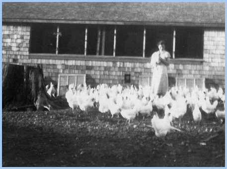 Katie Derksen and her chickens - 1937